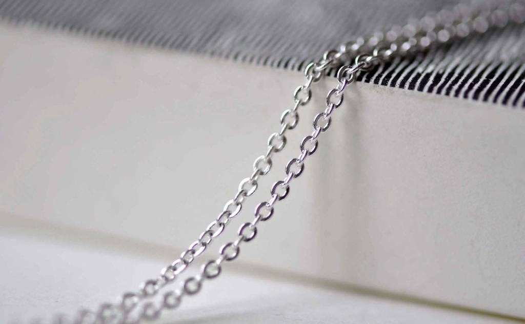Accessories - 16ft (5m) Of Silver Tone Brass Flat Oval Cable Chain 1mm A6176