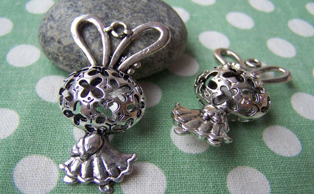 Accessories - 2 Pcs Antique Silver Filigree Rabbit Girl Dress Charms Pendants  22x43mm A1144