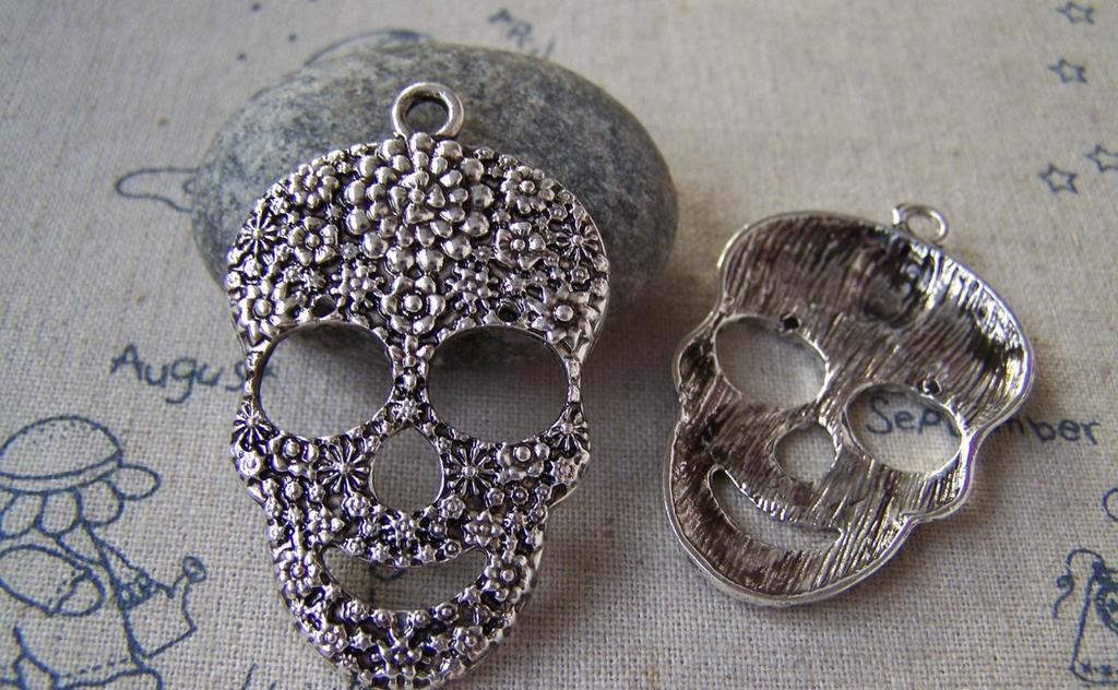 Accessories - 2 Pcs Of Antique Silver Huge Filigree Flower Skull Pendants Charms  31x49mm A5381