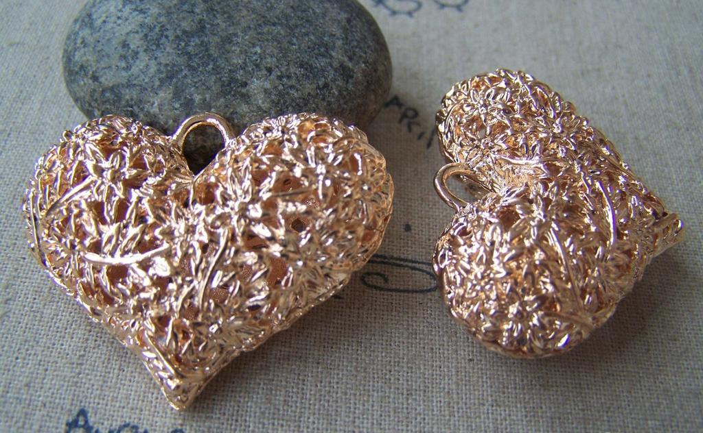 Accessories - 2 Pcs Of Non Tarnish Light Gold Tone 3D Filigree Heart Pendants 32x42mm HEAVY WEIGHT  A4490