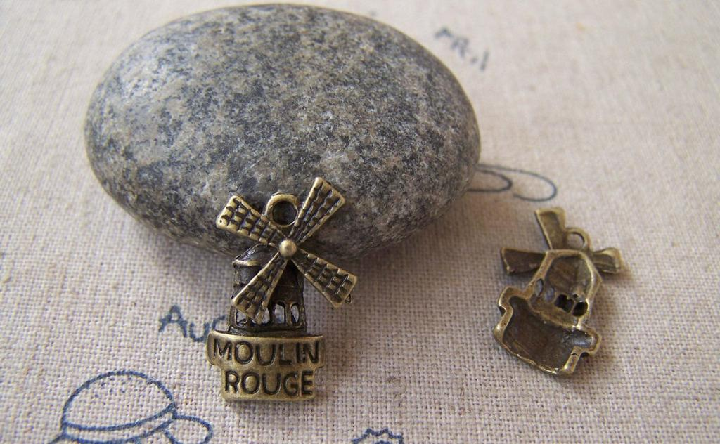 Accessories - 20 Pcs Antique Bronze Windmill Charms Pendants 13x20mm A5229