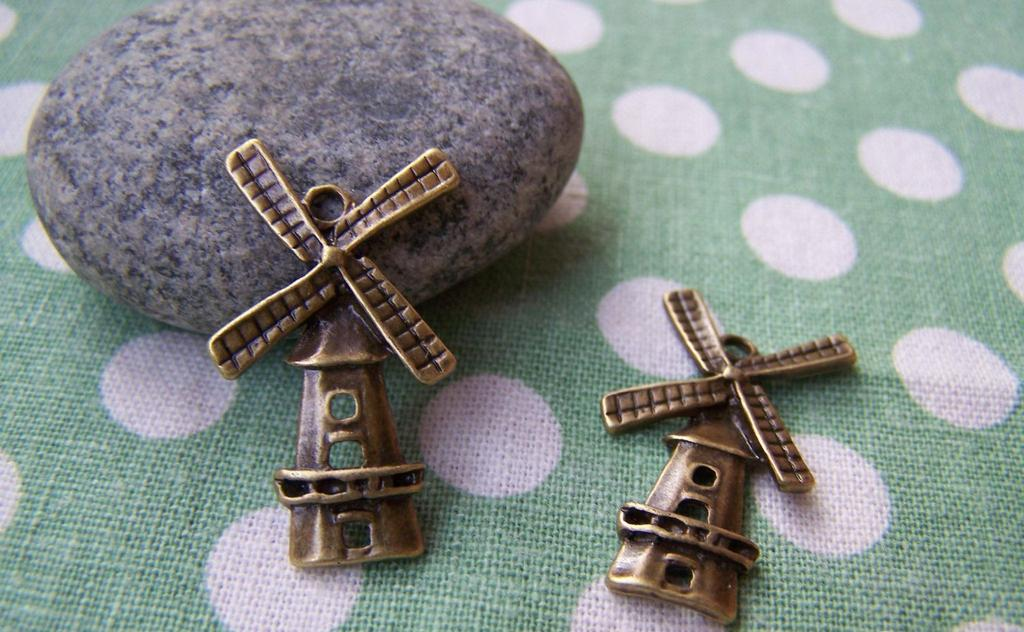 Accessories - 20 Pcs Antique Bronze Windmill Charms Pendants  16x27mm A1431