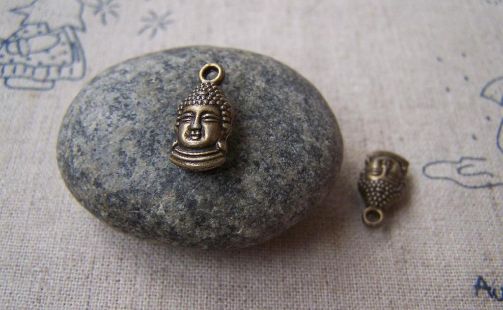 Accessories - 20 Pcs Of Antique Bronze 3D Buddha Head Charms  Double Sided 8x16mm  A1007