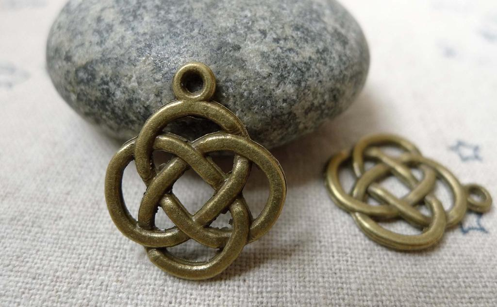 Accessories - 20 Pcs Of Antique Bronze Chinese Knot Connector Charms 17.5x21mm A5976