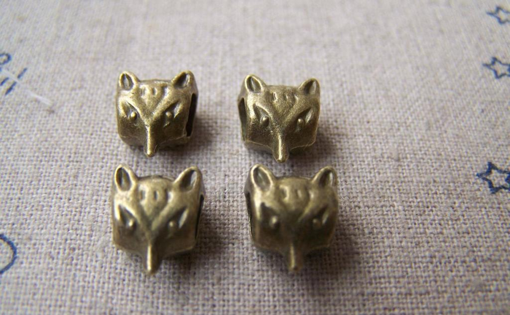 Accessories - 20 Pcs Of Antique Bronze Cute Fox Head Spacer Beads 7x9mm A3031
