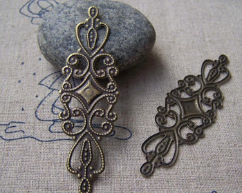 Accessories - 20 Pcs Of Antique Bronze Filigree Flower Embellishments  20x65mm A2665
