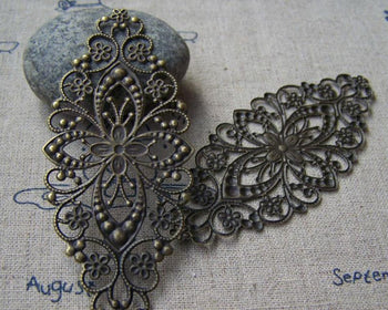 Accessories - 20 Pcs Of Antique Bronze Filigree Flower Embellishments 35x80mm A3139