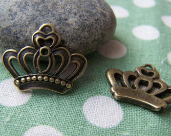 Accessories - 20 Pcs Of Antique Bronze Filigree Half Crown Charms  18x22mm A2775