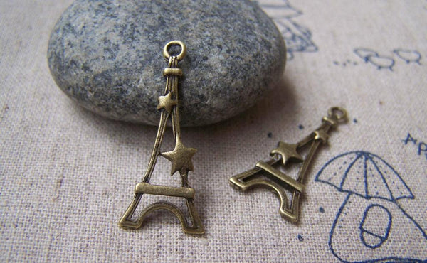 Accessories - 20 Pcs Of Antique Bronze Filigree Star Eiffel Tower Charms 13x30mm A1657