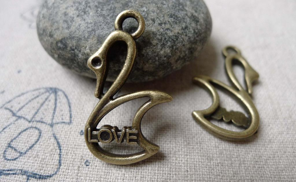 Accessories - 20 Pcs Of Antique Bronze Filigree Swan Charms 18x25mm A6864
