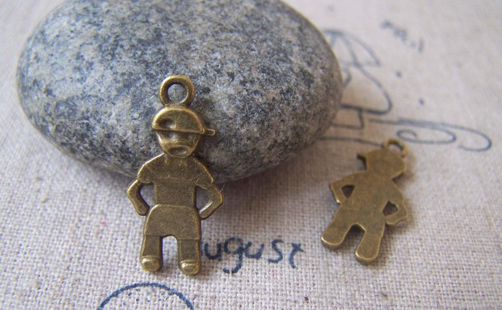 Accessories - 20 Pcs Of Antique Bronze Lovely Boy Charms 11x22mm A4390