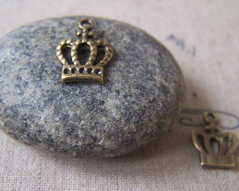 Accessories - 20 Pcs Of Antique Bronze Lovely Crown Charms 10x15mm A4466