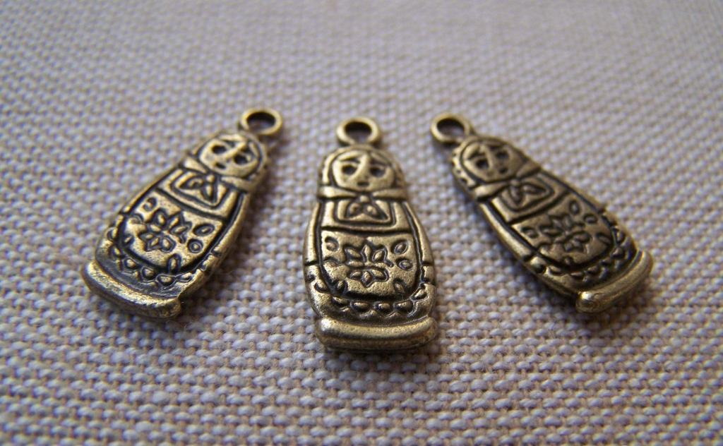 Accessories - 20 Pcs Of Antique Bronze Matryoshka Russian Doll Charms 8x17mm A3396