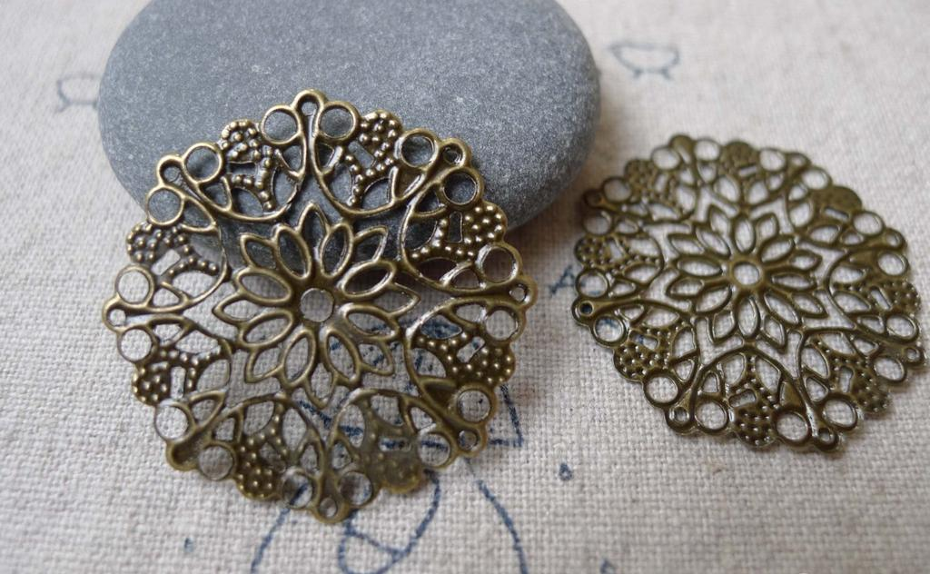 Accessories - 20 Pcs Of Antique Bronze Round Filigree Flower Embellishments Stampings  35mm A7254