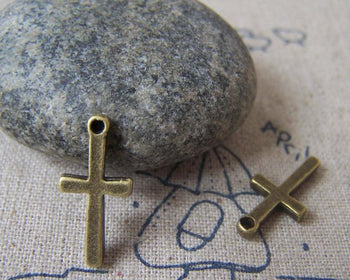 Accessories - 20 Pcs Of Antique Bronze Smooth Cross Charms 9x19mm A3449