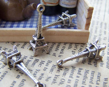 Accessories - 20 Pcs Of Antique Silver 3D Eiffel Tower Charms Pendants 8x23mm A1650