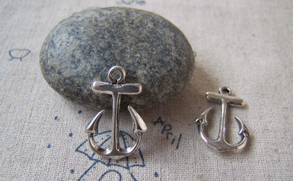 Accessories - 20 Pcs Of Antique Silver Anchor Charms Pendant 15x23mm A5407