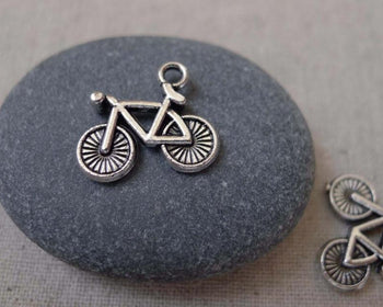 Accessories - 20 Pcs Of Antique Silver Bicycle Bike Charms  14x15mm A7449