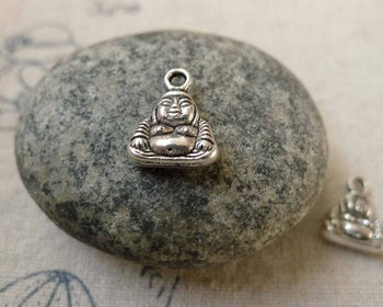 Accessories - 20 Pcs Of Antique Silver Buddha Charms 9x12mm Double Sided A6303