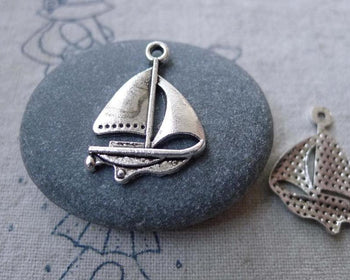 Accessories - 20 Pcs Of Antique Silver Catamaran Sailing Boat Charms 17x24mm A7729