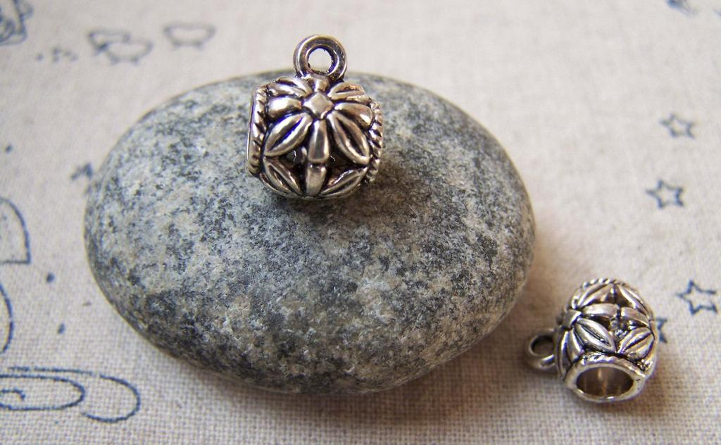 Accessories - 20 Pcs Of Antique Silver Filigree Flower Necklace Drum Bail Charms 10mm A5711