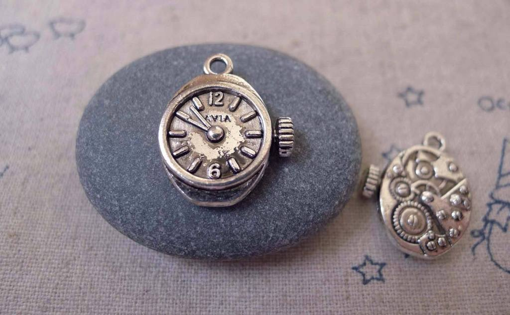 Accessories - 20 Pcs Of Antique Silver Mechanical Watch Clock Charms Pendants  12x20mm A7338