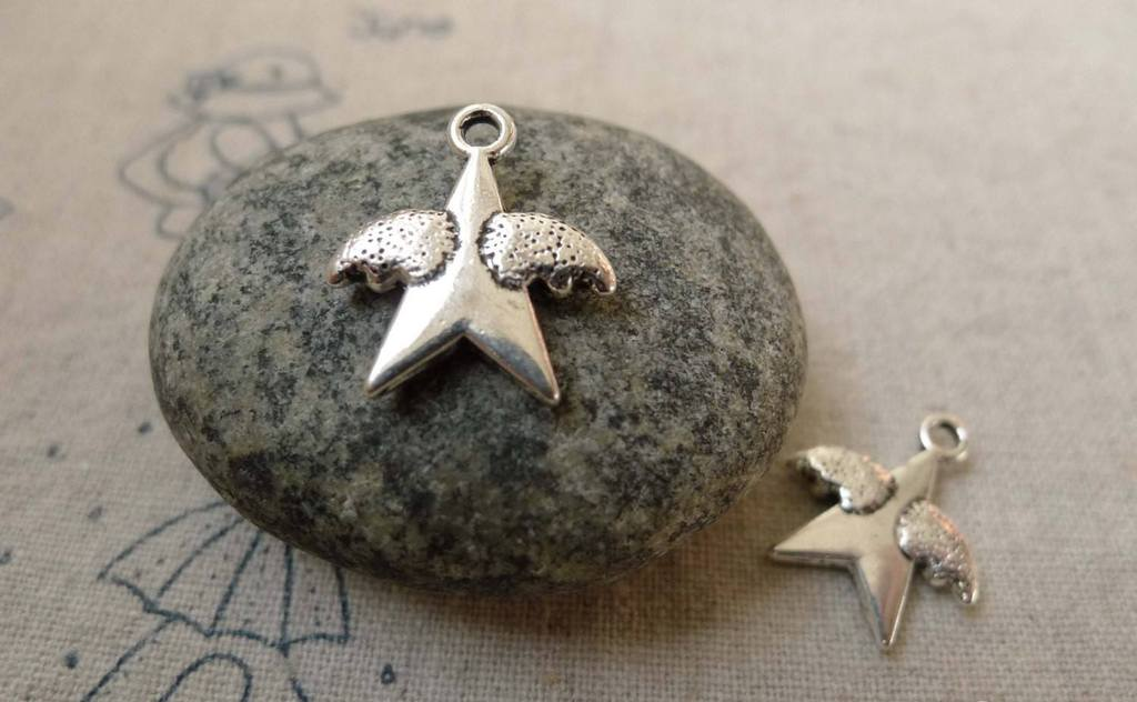 Accessories - 20 Pcs Of Antique Silver Star Angel Wings Charms  15x18mm A6231