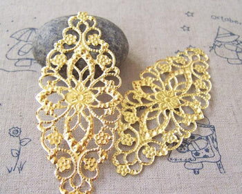 Accessories - 20 Pcs Of Gold Color Filigree Flower Embellishments 35x80mm A5170