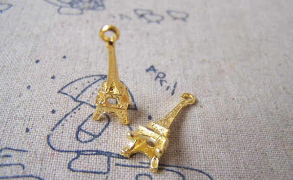 Accessories - 20 Pcs Of Gold Tone 3D Eiffel Tower Charms 8x23mm A3471