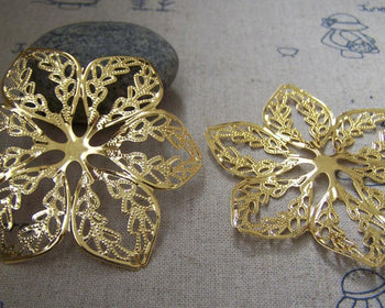 Accessories - 20 Pcs Of Gold Tone Filigree Huge Flower Embellishments 57mm A2251