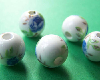 Accessories - 20 Pcs Of Hand Painted Chinese Blue Flower Ceramic Round Beads 10mm A1888