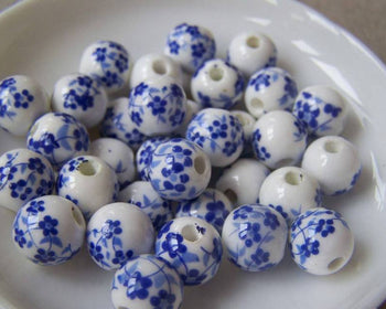 Accessories - 20 Pcs Of Hand Painted Chinese Blue Flower Ceramic Round Beads 10mm A4554