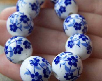 Accessories - 20 Pcs Of Hand Painted Chinese Blue Flower Ceramic Round Beads 12mm  A1879