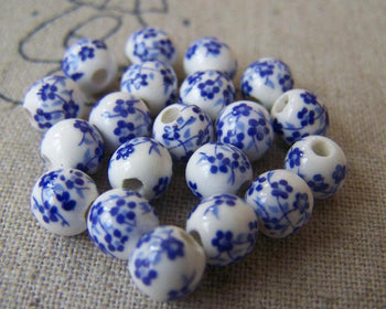 Accessories - 20 Pcs Of Hand Painted Chinese Blue Flower Ceramic Round Beads 6mm A565