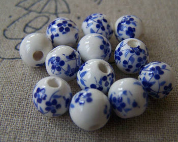 Accessories - 20 Pcs Of Hand Painted Chinese Blue Flower Ceramic Round Beads 8mm A566