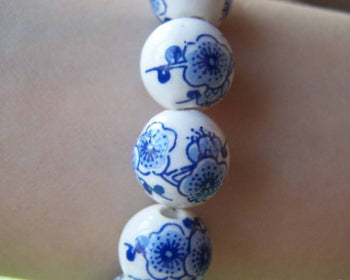 Accessories - 20 Pcs Of Hand Painted Chinese Blue Peony Flower Ceramic Round Beads 12mm A1876