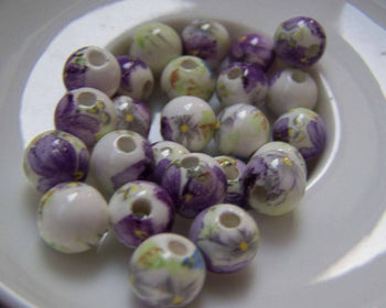 Accessories - 20 Pcs Of Hand Painted Chinese Purple Flower Ceramic Round Beads 8mm A5150