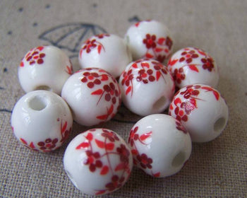 Accessories - 20 Pcs Of Hand Painted Lovely Red Flower Chinese Ceramic Beads 10mm A573