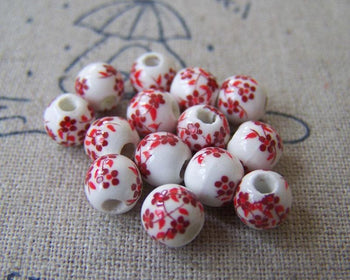 Accessories - 20 Pcs Of Hand Painted Lovely Red Flower Chinese Ceramic Beads 6mm A567