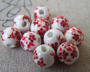 Accessories - 20 Pcs Of Hand Painted Lovely Red Flower Chinese Ceramic Beads 8mm A568