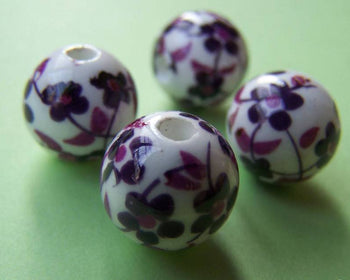 Accessories - 20 Pcs Of Hand Painted Purple Flower Chinese Ceramic Beads 12mm A1889