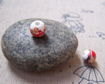 Accessories - 20 Pcs Of Hand Painted Red Flower Ceramic Beads 8mm A5156