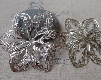 Accessories - 20 Pcs Of Platinum White Gold Tone Filigree Huge Flower Embellishments 48mm A7080