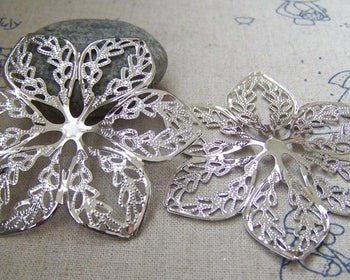 Accessories - 20 Pcs Of Platinum White Gold Tone Filigree Huge Flower Embellishments 57mm A2254
