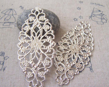 Accessories - 20 Pcs Of Silvery Gray Color Filigree Flower Embellishments 35x80mm A5087