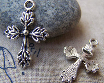 Accessories - 20 Pcs Of Tibetan Silver Antique Silver Cross Charms 17x26mm A1012