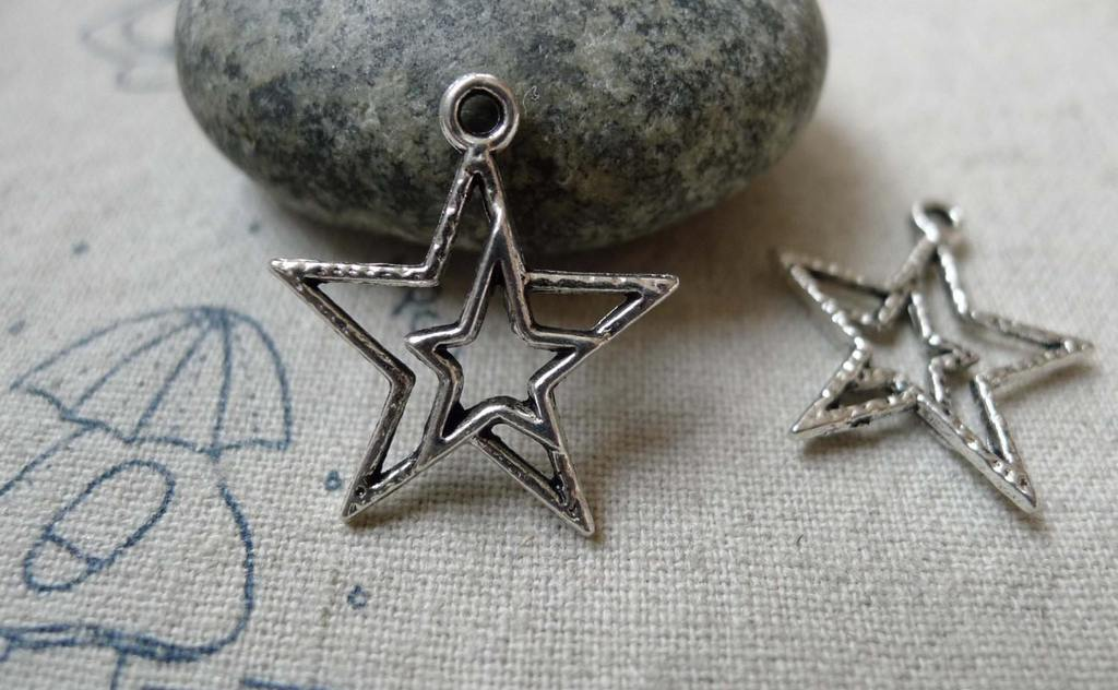 Accessories - 20 Pcs Of Tibetan Silver Antique Silver Double Star Charms 21x23mm  A6333