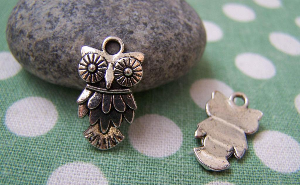 Accessories - 20 Pcs Of Tibetan Silver Antique Silver Lovely Owl Charms 11.5x20mm A1848