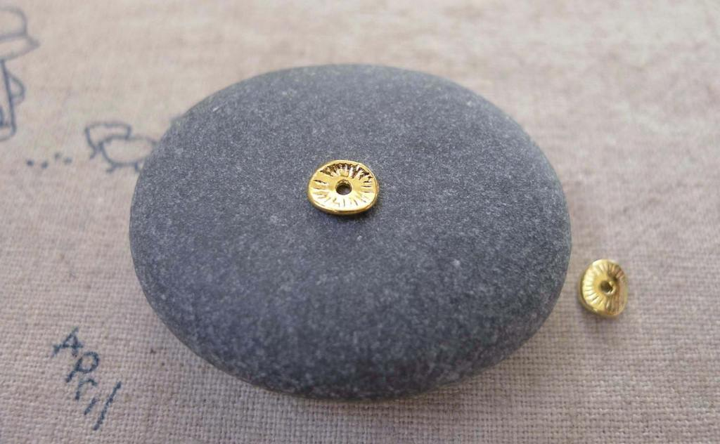 Accessories - 200 Pcs Of Gold Tone Curved Round Potato Chip Spacer Disc Beads Charms 5x6mm A7435