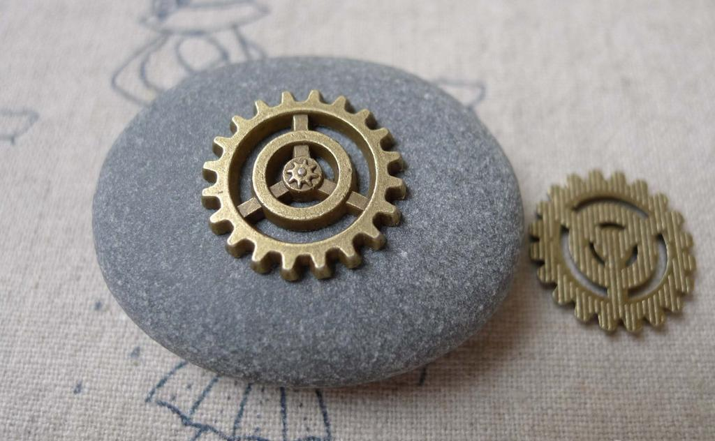 Accessories - 30 Pcs Antique Bronze Mechanical Watch Movement Gear Charm 18mm A7093
